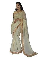 CDS Women's Net Saree - (White)
