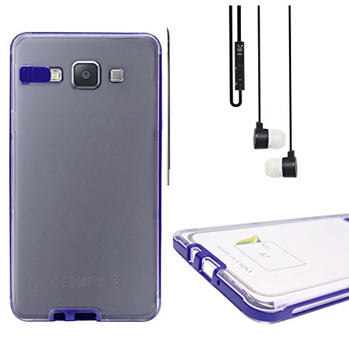 DMG LED Flashing Call Notification TPU Back Cover Case For Samsung Galaxy A5 (Blue) + Black Stereo Earphone With...