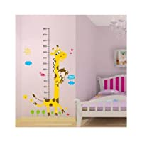 Naughty Monkey and Yellow Giraffe wall decal for kid's bedroom cartoon animals Height Chart (60cm-180cm) Nursery Wall Sticker Decor Removable walpaper for children playroom by happy-decor