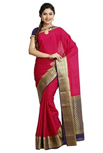 Kaushika Sarees Pure Crepe Traditional Mysore Silk Rani_Navyblue Saree