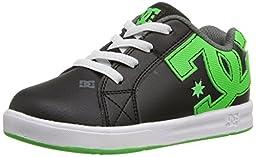 DC Court Graffik Elastic Skate Shoe (Toddler), Black/Green/White, 6 M US Toddler
