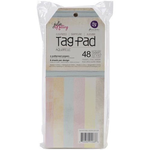 Prima Marketing Mixed Media Doll Tag Pad 3.5 by 8-Inch 48-Pack-Aquarelle