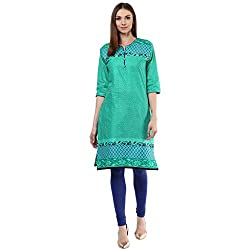 Drapes Womens Green Cotton Printed Kurti 3/4 Sleevees (DK0007, Green, XXL)