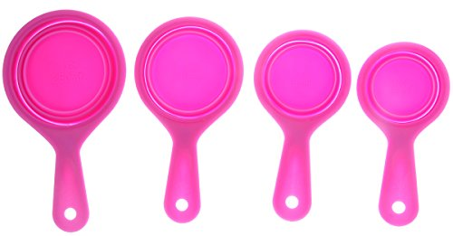 Measuring Cup - Heat Resistant Silicone Collapsible Kitchen Bakery Measuring Spoon 4 Piece Set - Pink - 1/4 cup, 1/3 cup, 1/2 cup, 1 cup (Bakery Measuring compare prices)