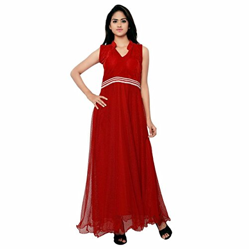 SRP Fashion Selection Women's Georgette Semi-Stitched long Gown ( Red)