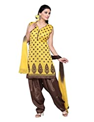 Ritu Creation Women's New Silk Stitched Patyala Suit With Top Embroided Work(Yellow)