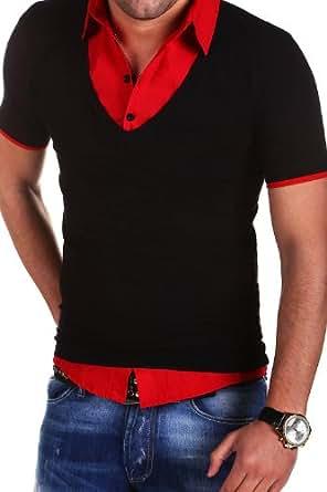 MT Styles - BS-515 - T-shirt polo 2 en 1 avec empiècement effet chemise - Rouge - L
