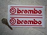 Brembo Red & White Lined Oblong Stickers ブレンボ ステッカー デカール シール 海外限定 155mm x 45mm 2枚セット [並行輸入品]