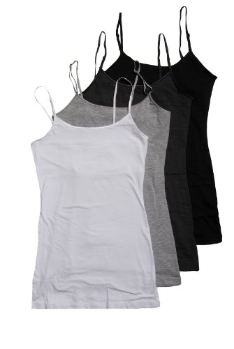 4 Pack Zenana Women's Basic Tank Tops Large White, Charcoal, Black, Heather Gray