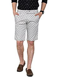 Showoff Men's Off White Slim Fit Printed Casual Chino Shorts