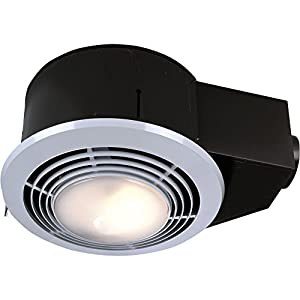 Nutone qt9093wh combination fan heater light night light 110 cfm 3 0 sones with 4 inch duct for Bathroom fan heater light combo
