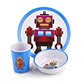 Viners 2612306 Robots 3-Piece Melamine Kids Dinnerware Giftbox Set