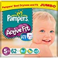 Pampers Active Fit Size 5 (11-25kg) Jumbo Pack 62 per pack