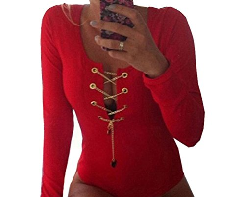 [DH-MS Dress Women's Thread Lace up V Neck Tight Bodysuit Red] (Xxl Santa Suits For Sale)