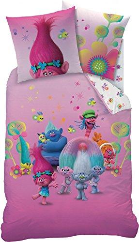 Set biancheria da letto double-face Trolls, 135x 200cm + 80x 80cm, Group, in linone cotone