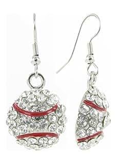 small baseball rhinestone fish hook earrings