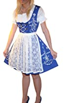 Hot Sale Dirndl Trachten Haus 3-piece Short German Wear Party Oktoberfest Waitress Dress 12 42 Blue