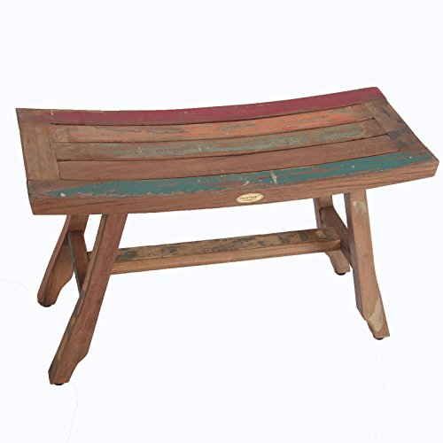 29″ Satori Recycled Boat Wood Bench- Bench Uses Reclaimed Wood From Old Fishing Boats