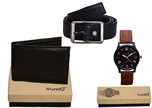 Combo Pack Of YunniQ Black Wallet With Black Belt With Black Dial Classey Wrist Watch.