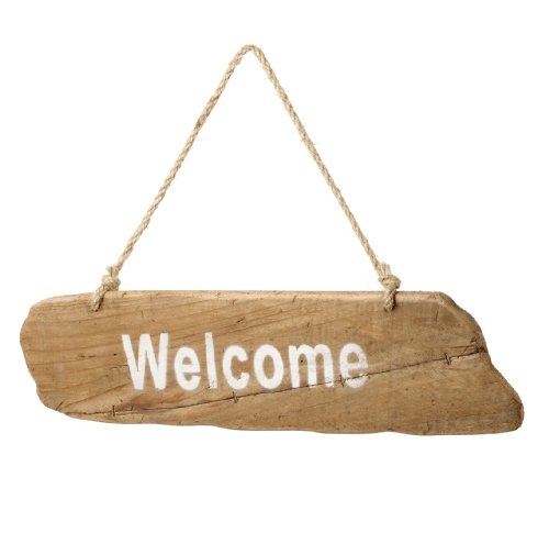 Large Handmade Wooden Welcome Sign With Rustic Hanging rope