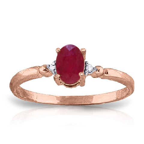 14k Rose Gold Ring with Genuine Diamonds and Natural Oval-shaped Ruby - Size 8.5