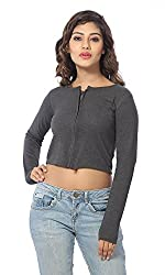 Abony Women's Grey Fullsleeve Crop Top (Size:L)