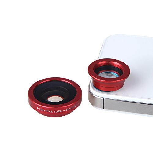 Docooler 180 Degree Fisheye Macro Lens Magnetic Mount For Iphone 5S 5 Galaxy S4 S3 Note 3 Htc 2 In 1 (Red)