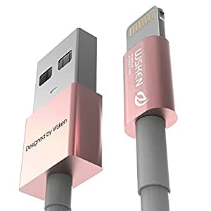 Data Sync Lightning Cable Authentication Aluminum for Apple iPhone 6S / 6S Plus / 6 / 6 Plus / 5 / 5s / 5c / iPod / iPad Mini Charger Cord(1m)(rose)
