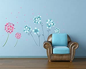 OneHouse Blue and Red Flowers Flying Leaves Removable Wall Decor Sticker Vinyl Decal by OneHouse