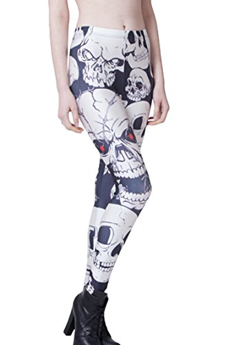Pink Wind Women'S Ankle Length Footless Printing Leggings Stretch Slim Pants Trousers One Size Skull