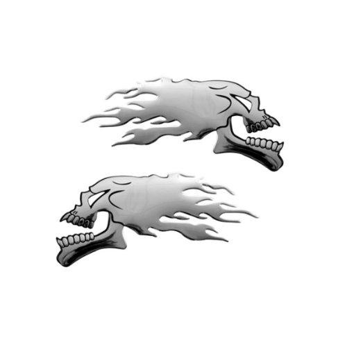 3D15031 - Chrome 3D emblème de la voiture auto adhésif logo caractères (3M auto-adhésif) Crâne Skull flame (2 pieces)
