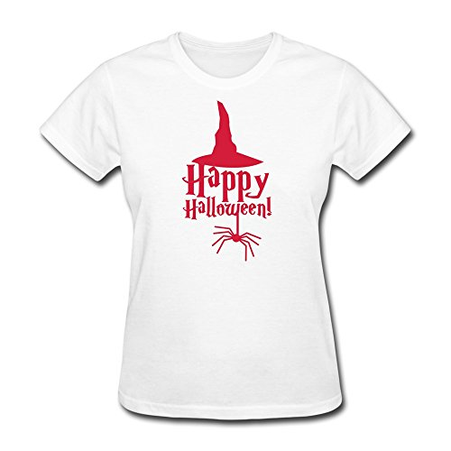 NASY Women's Halloween Spider Witches Hat Cotton Short Sleeve T Shirt White
