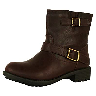 A6J New Retro Womens Ladies Flat Buckle Casual Zip Up Ankle Biker Boots Shoes Brown All Faux Leather Size 3 UK