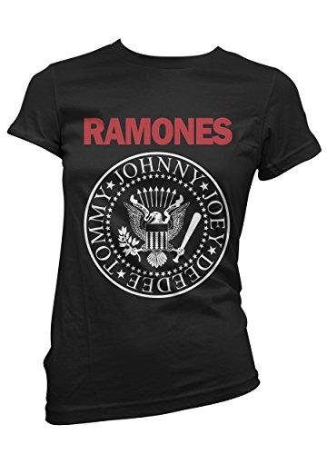 T-shirt Donna Ramones - maglietta bicolor 100% cotone LaMAGLIERIA,XL, Nero