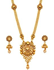 JFL - Traditional Ethnic One Gram Gold Plated LCD Champagne Kundan Diamonds Designer Long Necklace Set / Jewellery...