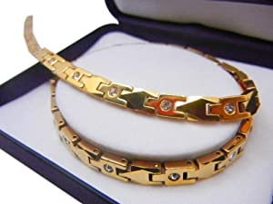 Bioexcel Tungsten Quantum Energy Magnetic Necklace - Gold Plates Design with CZ Stone