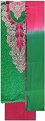 Gunjan Women's Cotton Unstitched Salwar Suit (Parrot Green & Magenta Pink)