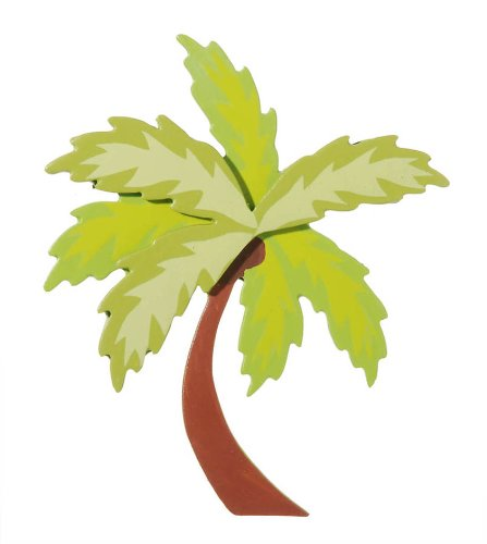 Darice 9199-40 Natural Painted Wood Cutout, Two Palm Tree