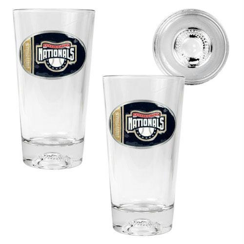MLB Washington Nationals Two Piece Pint Ale Glass Set with Baseball Bottom - Oval Logo at Amazon.com