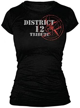 The Hunger Games - Tribute Spray  Juniors T-Shirt In Black (X-Large)