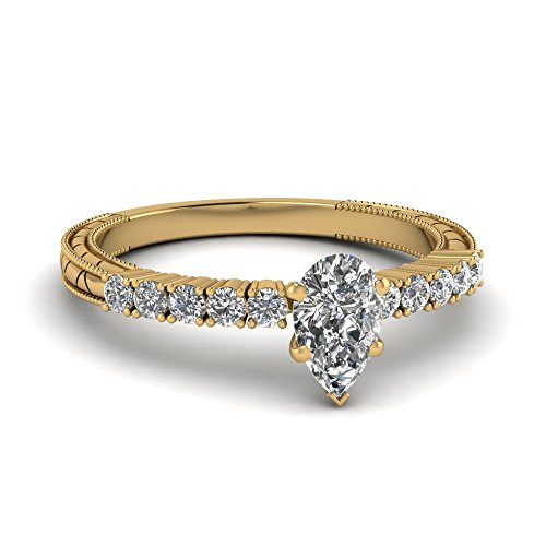 Fascinating Diamonds 0.65 Ct Pear Shaped Si1 Diamond Milgrain Engagement Ring Gold Gia