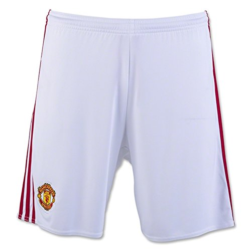 Adidas Manchester United Mens Home Soccer Shorts M White-Real Red (Shorts Manchester United compare prices)