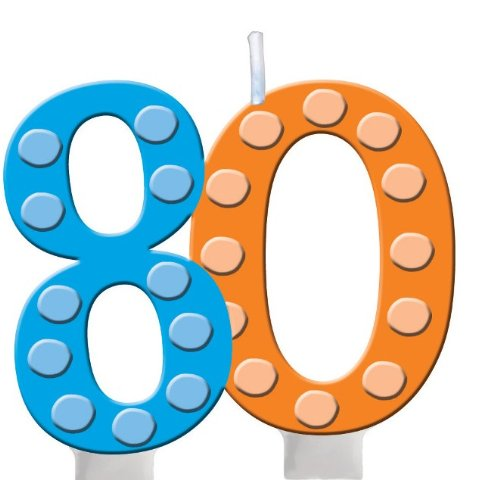 Creative Converting Bright and Bold 80th Birthday Molded Numeral Cake Candle