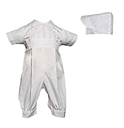 White Cotton Christening Baptism Coverall - Size 3 Month