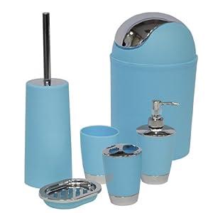 Sq professional ltd 6pc bathroom accessory set blue for Blue bath accessories set