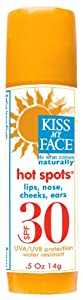 Kiss My Face Organic Hot Spots Sunscreen, SPF 30, .5-Ounce Sticks (Pack of 3) - Packaging May Vary