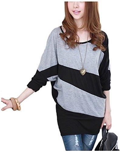 Bi-coloured Dolman-style tunic dress women's (gray & black)