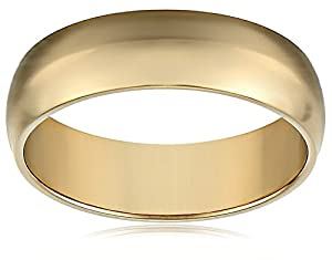 Men's 18k Yellow Gold 6mm Comfort Fit Plain Wedding Band, Size 9