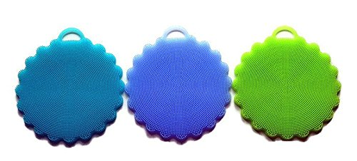 Silicone Antibacterial Dishwashing Scrubbers Brush Sponge 3 Pack