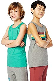 2 Pack Cotton Rich Retro Vest Tops